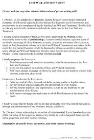 last will and testament form template