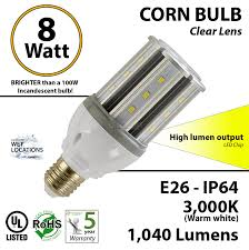 light bulb conversion to led 8 watt led corn bulb 1 040 lm 100w replacement 3 000k ip64 e26 ul