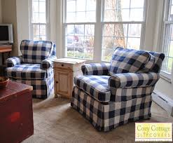 Blue And White Striped Slipcovers Cozy Cottage Slipcovers Blue And White Buffalo Check Slipcovers