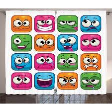 emoji curtains 2 panels set digital square cartoon decor for