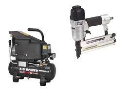 sealey air nail staple gun kit including compressor hose u0026 nailer