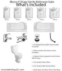 blanco p shaped vanity bathroom suite shower bath toilet cistern more views
