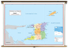 Map Caribbean Sea by Trinidad And Tobago Political Educational Wall Map From Academia Maps