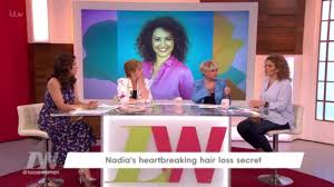 loose women u0027s nadia sawalha had to make candid hair loss video as