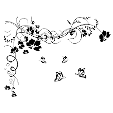 fuloon large vine flower butterfly wall stickers wall decal black