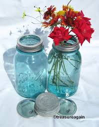 Mason Jar Vases Wedding Mason Jar Vase Flower Frog Lid Antique Blue Mason Jars Ball