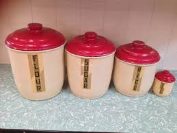 set of 4 vintage retro aluminum kitchen canisters halsey road