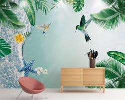 online buy wholesale wallpaper tropical beach from china wallpaper beibehang classic fashion simple simple tropical plant beach hummingbird tv bedroom background wallpaper papel de parede