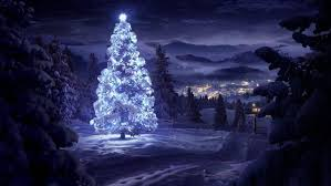 christmas night landscape christmas tree mountain snow