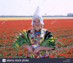 bulb fields tulip fields dressed in dutch costume with