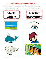 words starting with letter w beginning consonant worksheets