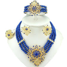 pendant necklace earrings images Elegant 3 layers blue beads jewellery set with brooch pendant jpg