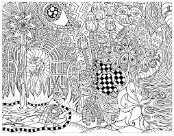 psychedelic forest with hidden cat psychedelic coloring pages