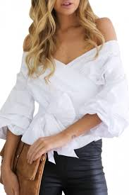white bell sleeve blouse womens wrapper v neck shoulder lace up bell sleeve blouse