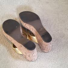 tory burch gold cork wedge sandals size us 8 5 regular m b from
