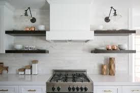 Floating Shelves Kitchen by Kitchen Hood Between Floating Shelves Design Ideas