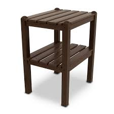 polywood outdoor small side or end table with shelf durable pool