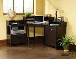 Small Computer Desk With Shelves Furniture Brown Polished Wooden Corner Computer Desk With Shelf