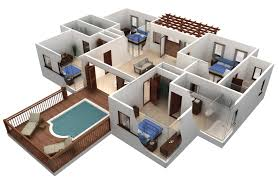 3d plans enchanting modern 3 bedroom house floor 3d plans collection and