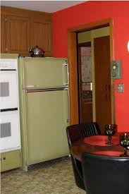 Kitchen With Red Appliances - jon u0026 trixi create a 1970s avocado kitchen with rust oleum cabinet