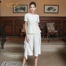 picture of heavy set women in a two piece bathing suit voa 2017 autumn slim pure white heavy silk fake two piece set