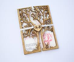 luxury wedding invitations luxury wedding invitations with wooden cover cut out tree