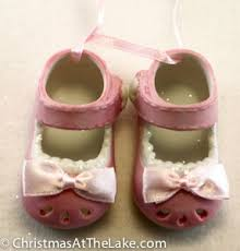 baby shoe ornament at the lake