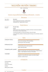 Interests Resume Examples by Private Tutor Resume Samples Visualcv Resume Samples Database