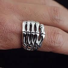 men hand rings images Japan gothic jewelry skeleton hand bones 925 sterling silver ring jpg