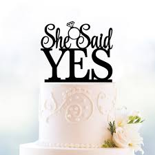 Home Cake Decorating Supply She Said Yes Wedding Cake Topper Romantic Wedding Cake Decoration