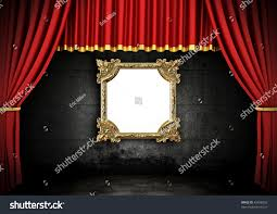 Theater Drape Red Stage Theater Drapes Golden Frame Stock Illustration 45938359