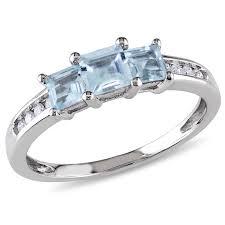 aquamarine engagement rings 10k white gold 4 5 carat t g w aquamarine and 1 10 carat t w
