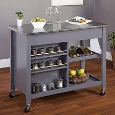 kitchen islands stainless steel top modern mobile kitchen island rolling gray wood cart stainless