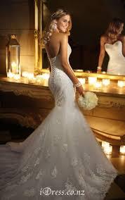 low back romantic mermaid strapless sweetheart lace wedding dress