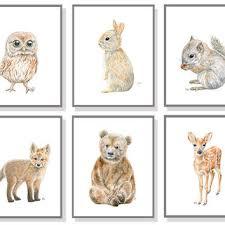 woodland nursery art animal painting baby from jamesriverstudios
