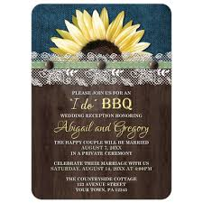 Reception Only Invitations Only Invitations Sunflower Denim Wood Lace I Do Bbq