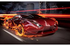 mural sports car in flames wallpapers mural sports car in flames