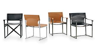 Folding Chair Leather Contemporary Chair Folding With Armrests Sled Base Mirto