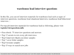 warehouse lead interview questions