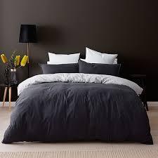 Grey Linen Bedding Grey Linen Cotton Quilt Cover Set Target Australia