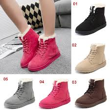 womens boots philippines lace up winter fashion fur boots ankle boots flat heels