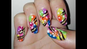 easy diy multicolor nail art tutorial for long nails rainbow
