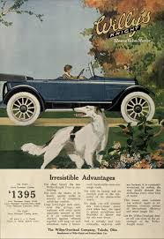 car advertisement driving with dog in foreground scene willys knight car