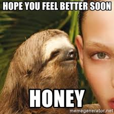 Feel Better Meme - hope you feel better soon honey dirty sloth meme generator
