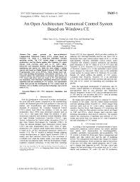 an open architecture numerical control system based on windows ce