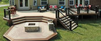 Ideas For Patios Decor Lowes Deck Design With Firepit And Furniture For Patio
