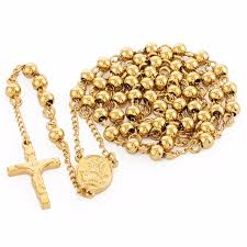 all gold rosary necklace images Stainless steel pendant necklace catholic bead chain gold rosary jpg