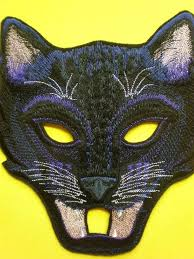 mardi mask embroidered black cat mask panther
