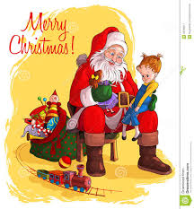 santa claus give presents to children stock image image 26340911