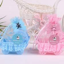 baby shower ribbon birthday baby shower party favor yarn basket candy box with lace
